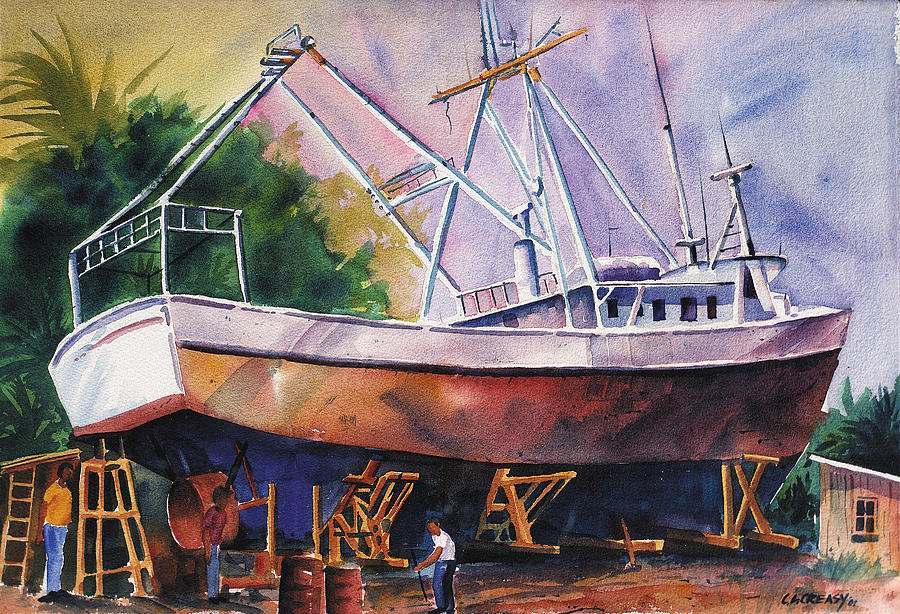 Fishing Boat Painting - Repairs by Chuck Creasy