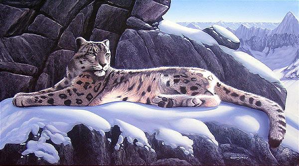 Snow Leopard Painting - Reposo En La Corniza by Sergio Gaspar