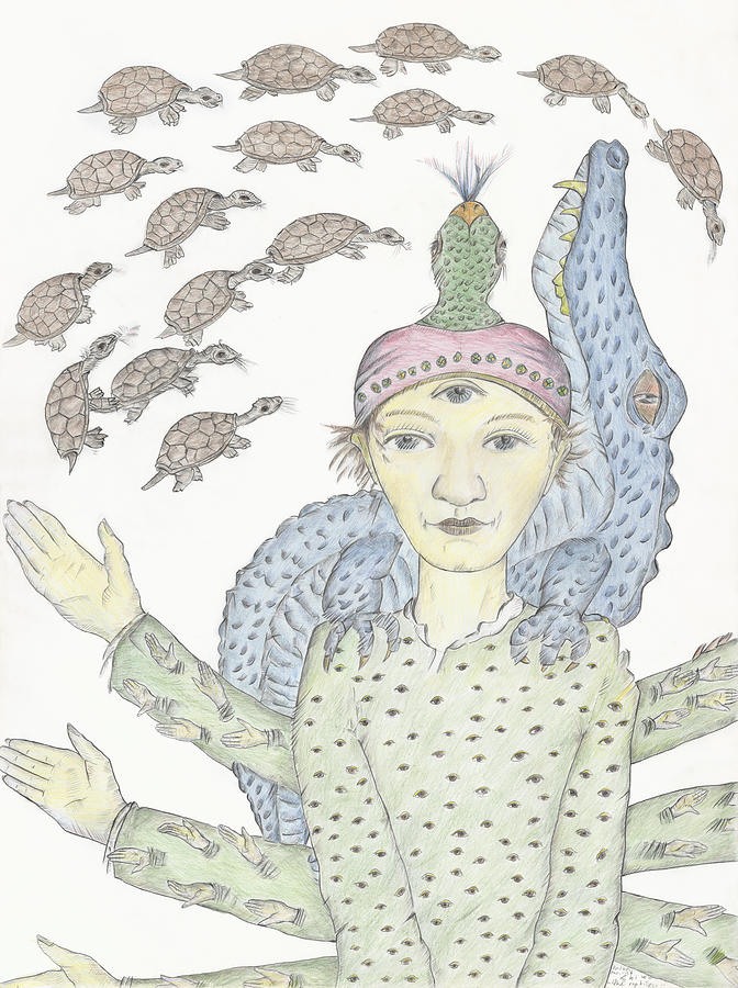 Fantasy Drawing - Reptilia-Shiva by Bert Menco