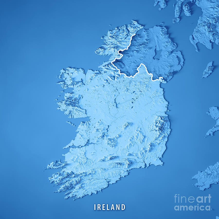 Map Of Ireland 3d.Republic Of Ireland Country 3d Render Topographic Map Blue Borde By Frank Ramspott