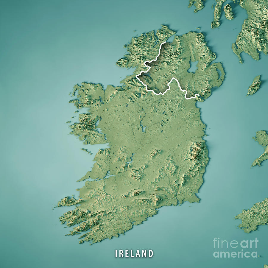 Map Of Ireland Islands.Republic Of Ireland Country 3d Render Topographic Map Border By Frank Ramspott
