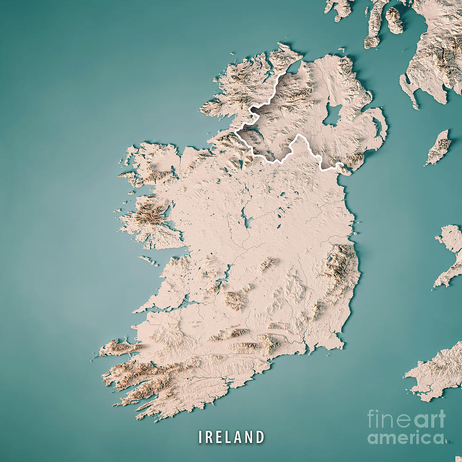 Map Of Ireland 3d.Republic Of Ireland Country 3d Render Topographic Map Neutral By Frank Ramspott