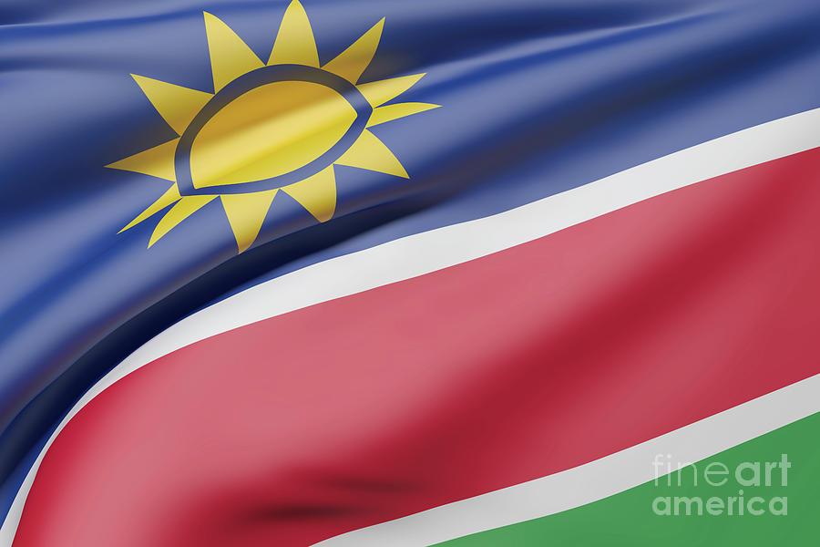 Republic Of Namibia Flag Waving by Enrique Ramos Lopez