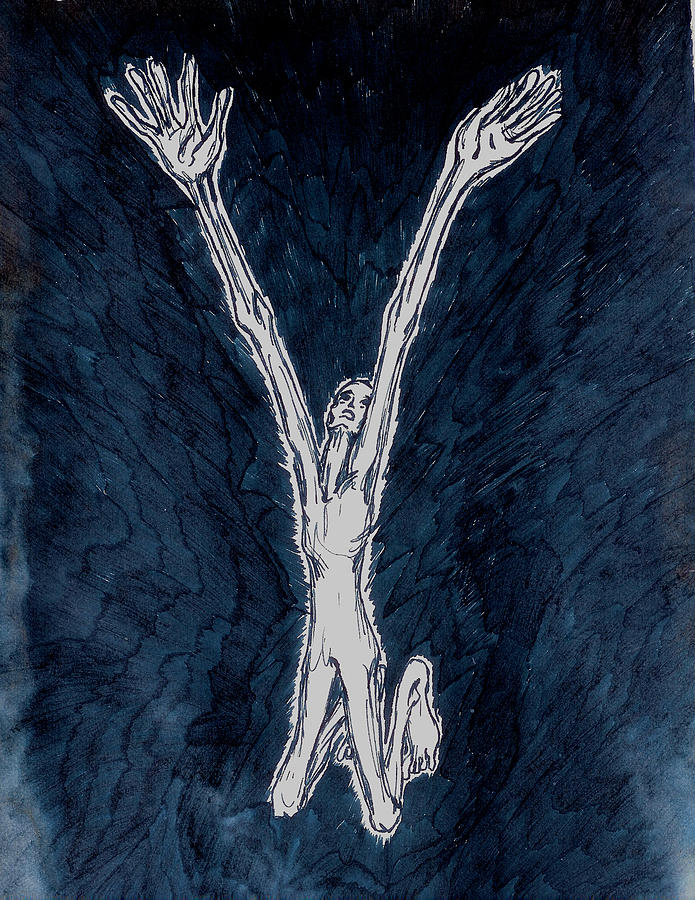 Black And White Drawing - Requiem - Kyrie Elison  by Rae Chichilnitsky