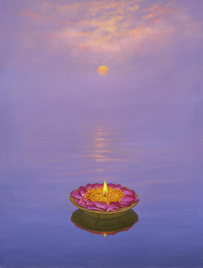 Sympathy Card Painting - Floating Candle on Water at Sunset by Brian McCarthy