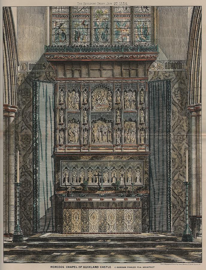 Aukland Painting - Reredos Chapel Of Aukland Castle 1884 by Dodgson Fowler