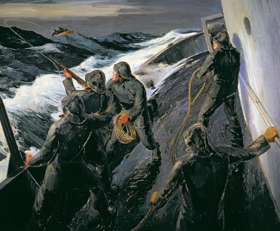 Rescue - Firing A Costen Gun Line (oil On Canvas) By Thomas Harold Beament (1898-1985) Painting - Rescue by Thomas Harold Beament