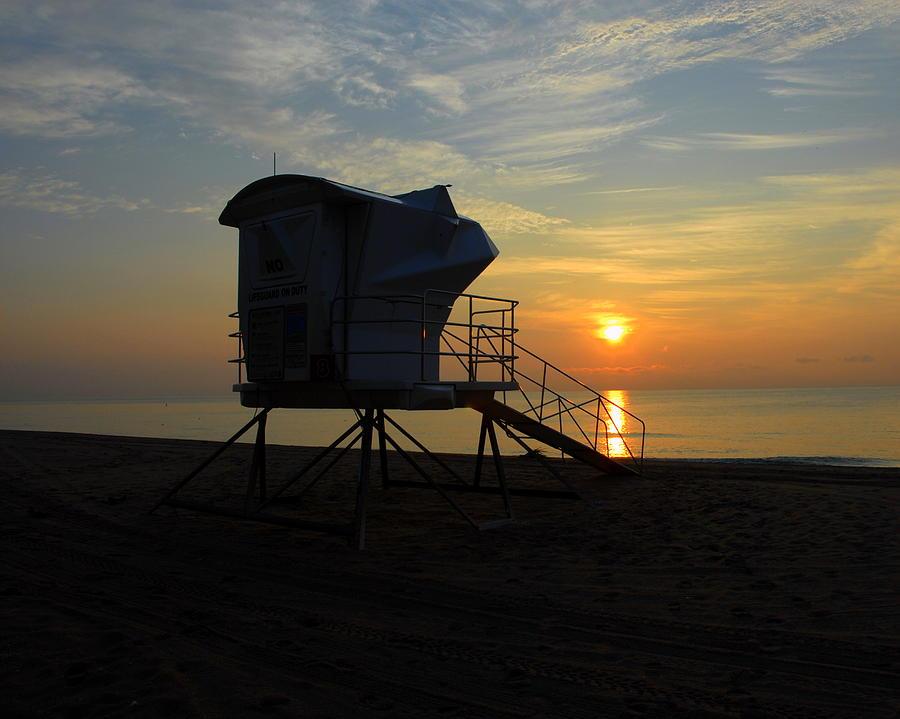 Beach Photograph - Rescue Tower Sunrise by Zachary Liaros