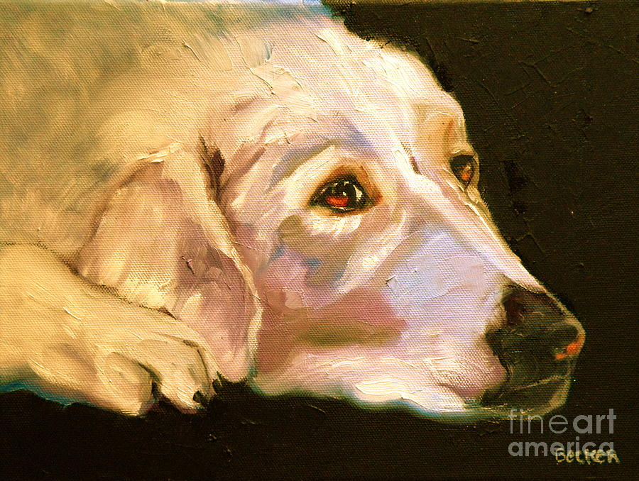 Oil Painting - Rescued Golden by Susan A Becker