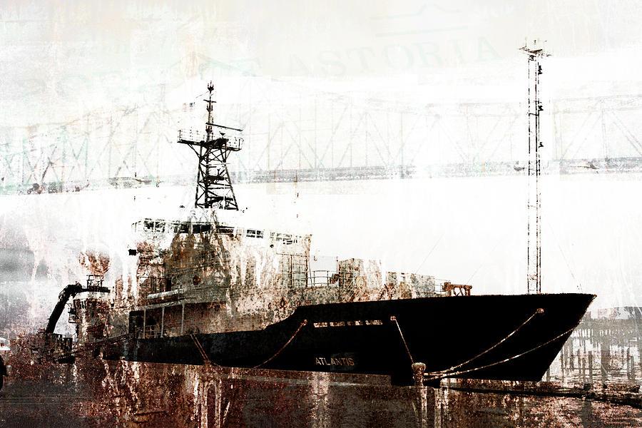 Ship Mixed Media - Research Vessel Atlantis in Astoria Oregon by Carol Leigh