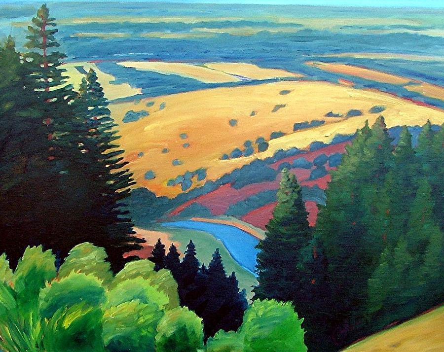 Trees Painting - Reservoir Below by Gary Coleman