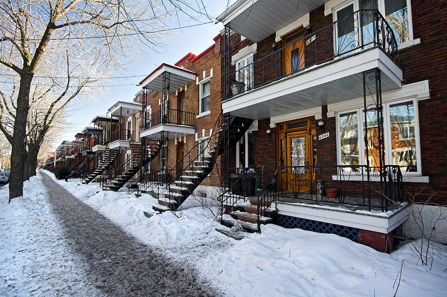 Residential Area Of Montreal City In Winter Photograph By