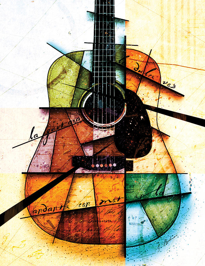 Guitar Digital Art - Resonancia En Colores by Gary Bodnar