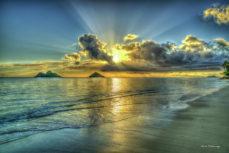 Oahu Hi Mokulua Islands Resplendent Light Lanikai Beach Sunrise Hawaii Seascape Art Photograph