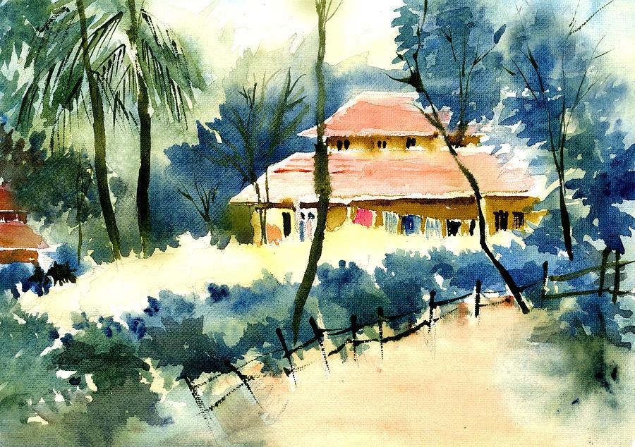 Landscape Painting - Rest House by Anil Nene