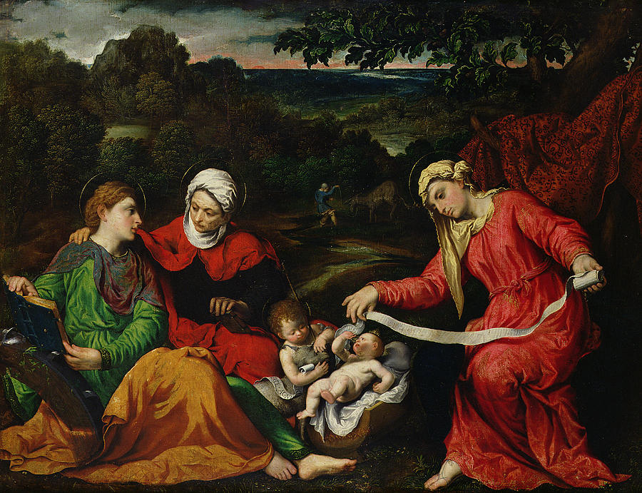 Rest Painting - Rest On The Flight Into Egypt by Paris Bordone