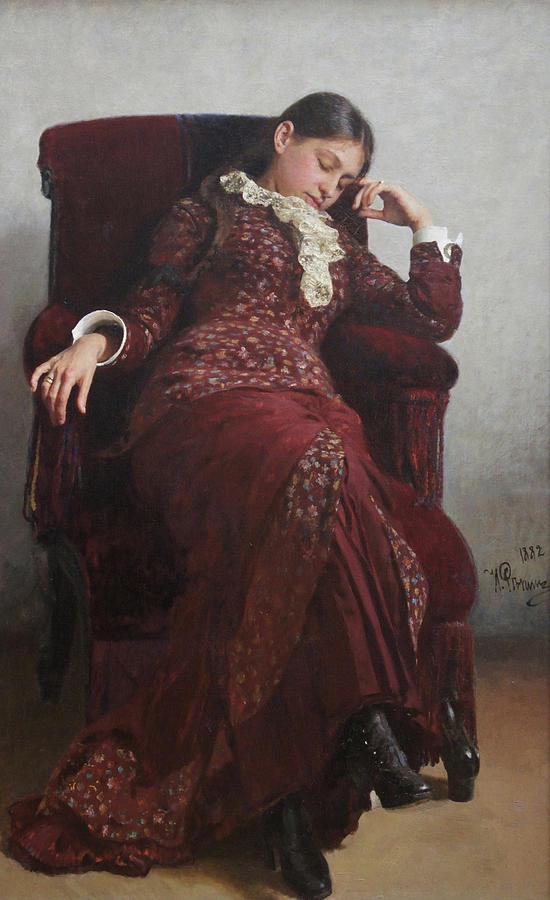 Ilya Repin Painting - Rest. Portrait of Vera Repina, the Artists Wife. by Ilya Repin