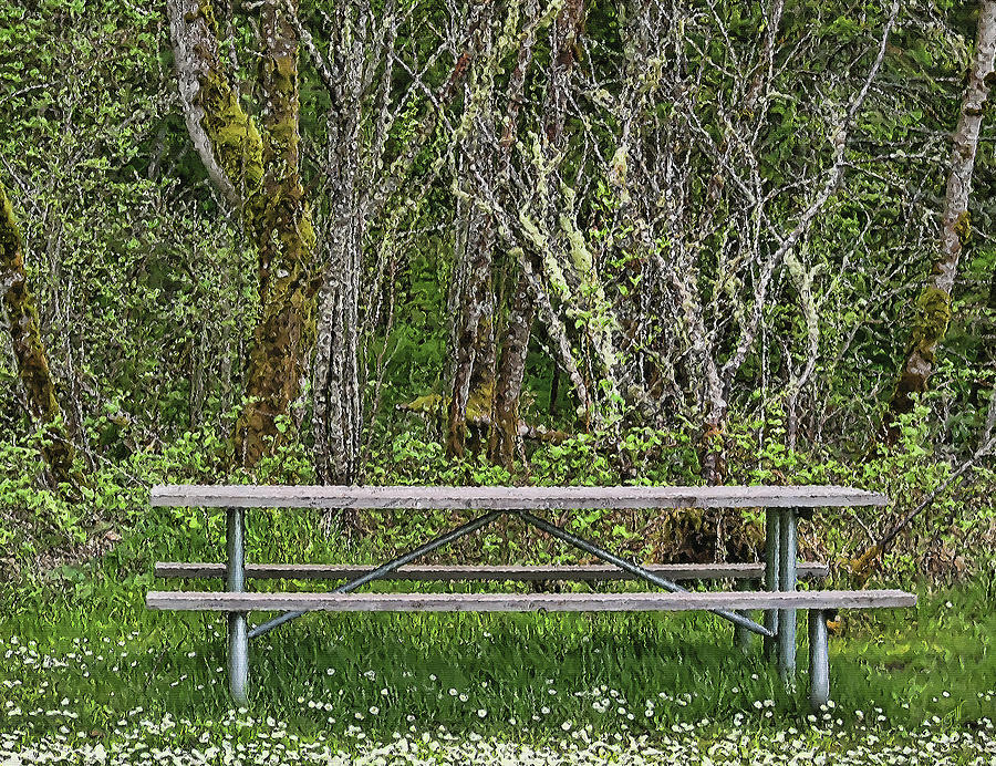 Bench Mixed Media - Rest Stop by John Winner