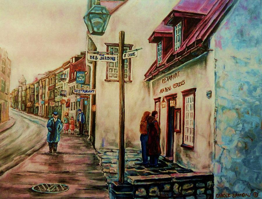 Quebec City Painting - Restaurant Aux Anciens Canadiens Quebec City by Carole Spandau