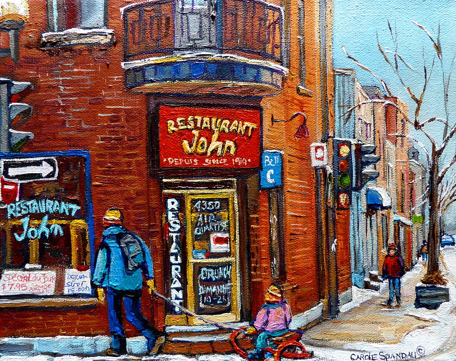St Painting - Restaurant John Montreal by Carole Spandau