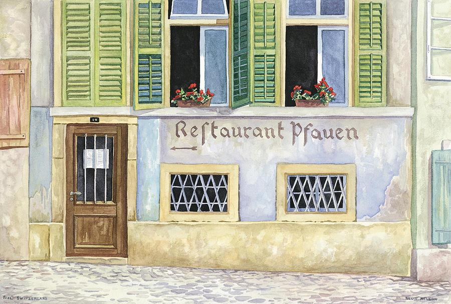 Restaurant Painting - Restaurant Pfauen by Scott Nelson