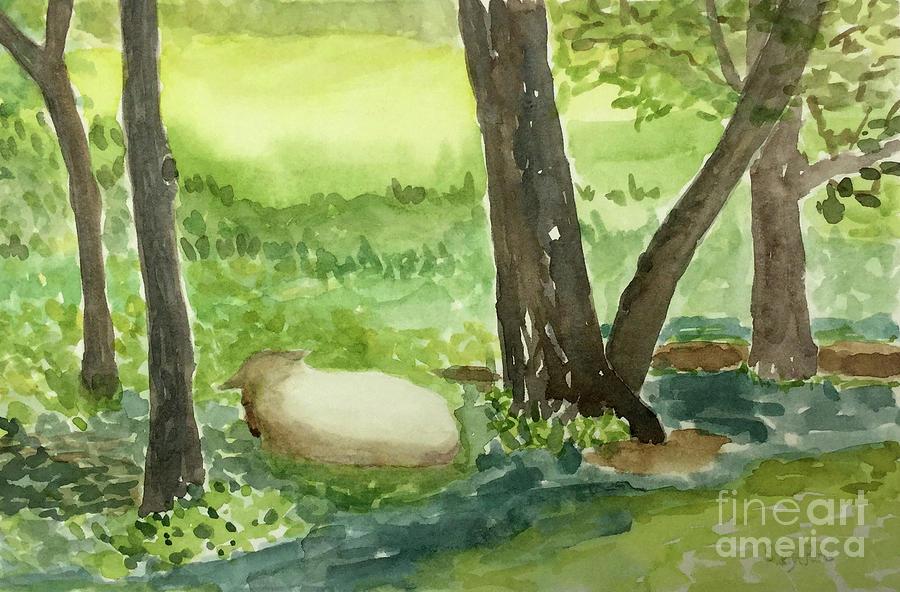 Landscape Painting - Restful Lamb by Sheryl Paris