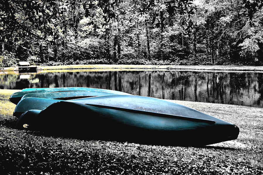 Canoe Photograph - Resting Canoes by Greg Sharpe