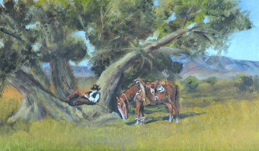 resting cowboy painting a study by Katalin Luczay