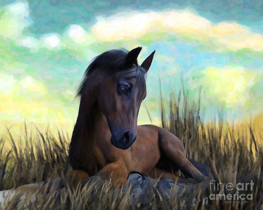 Horse Painting - Resting Foal by Sandra Bauser Digital Art
