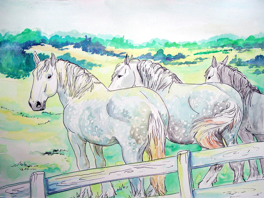 Horse Painting - Resting Giants by Jenn Cunningham