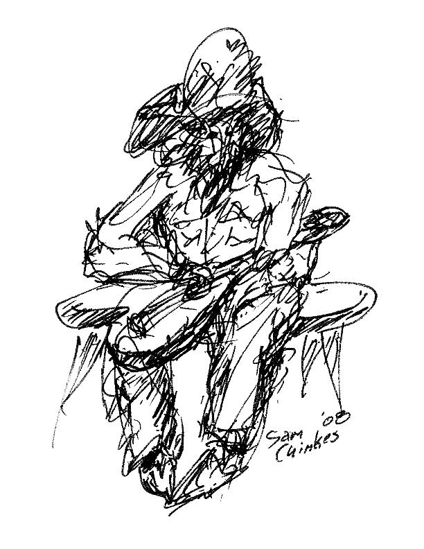 Jazz Drawing - Resting Guitarist by Sam Chinkes