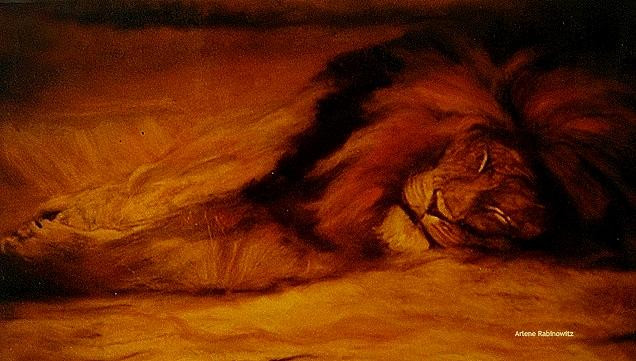 Animals Painting - Resting Lion by Arlene Rabinowitz