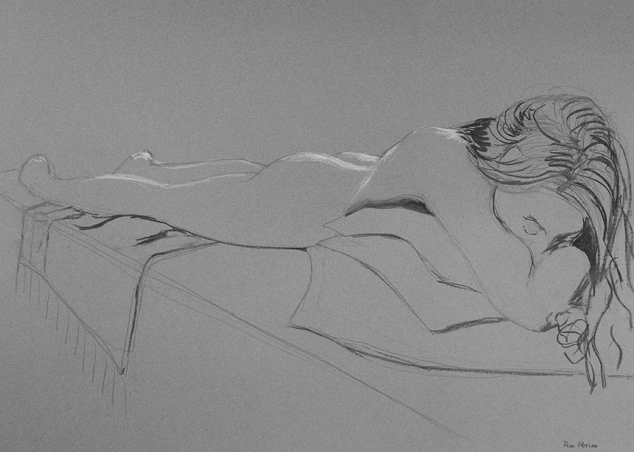 Nude Drawing - Resting On Pillows by Don Perino