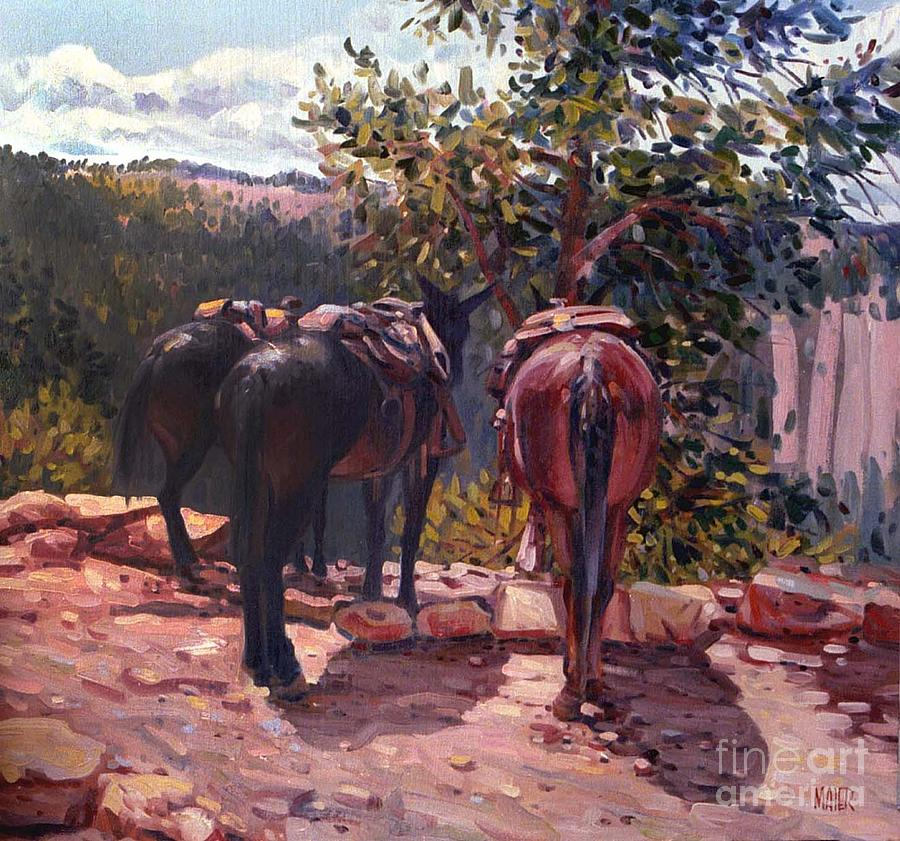 Mules Painting - Resting On The Kaibab Trail by Donald Maier
