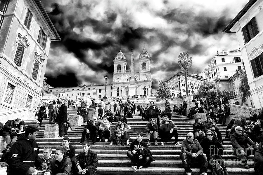 Street Scene Photograph - Resting On The Spanish Steps by John Rizzuto