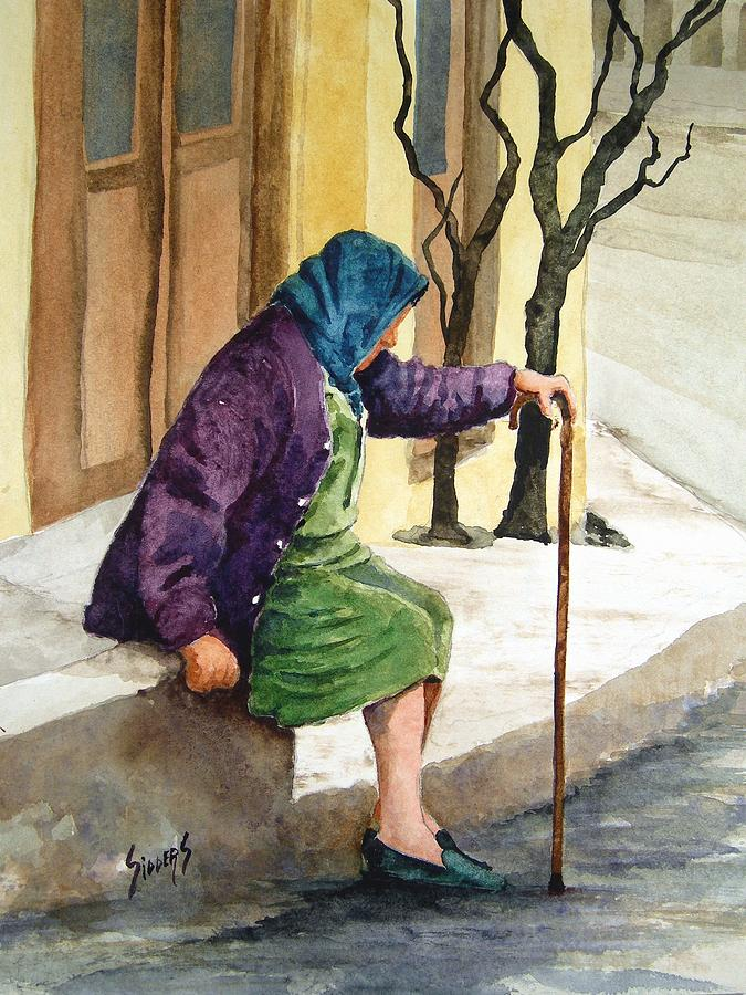 Old Lady Painting - Resting by Sam Sidders