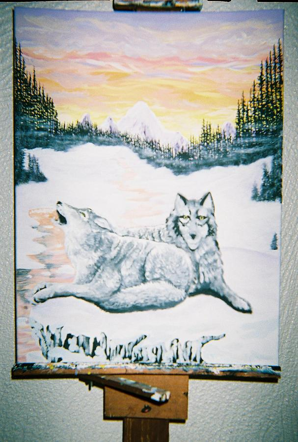 Nature Painting - Resting Wolfs by Richard Erickson