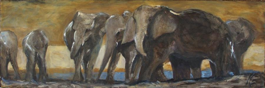 Elephant Painting - Restless by Kathleen Farmer