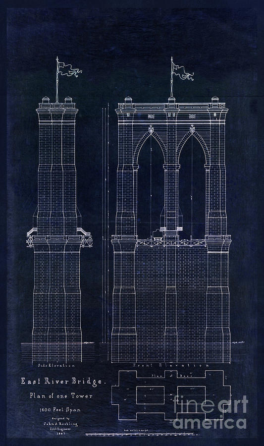Restored antique blueprint of the brooklyn bridge east river bridge 1867 drawing restored antique blueprint of the brooklyn bridge east river bridge by tina malvernweather Gallery