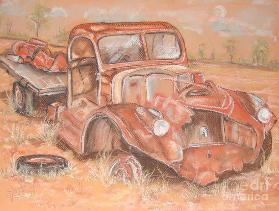 Old Truck Pastel - Retired by Sandra Valentini