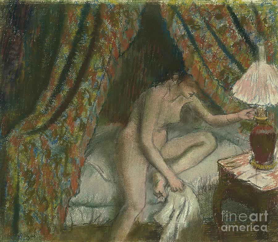 Retiring Drawing - Retiring by Edgar Degas