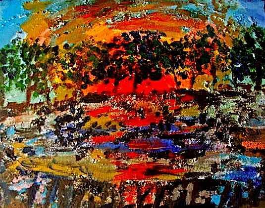 Landscape Painting - Retreat by Rika Maja Duevel