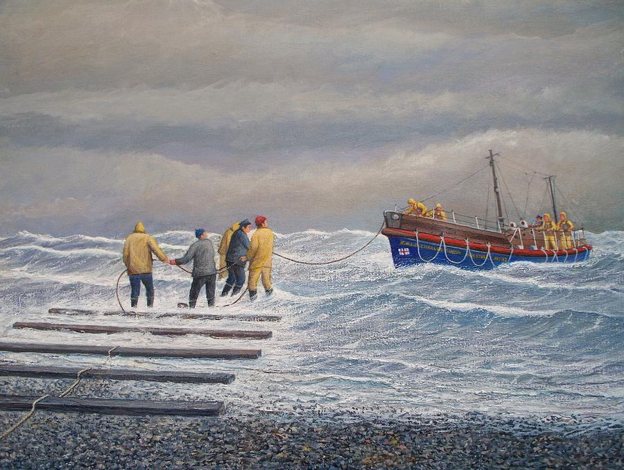 Ships Painting - Retreiving The Royal National Lifeboat Institution Boat Charles Didbin  by William Ravell