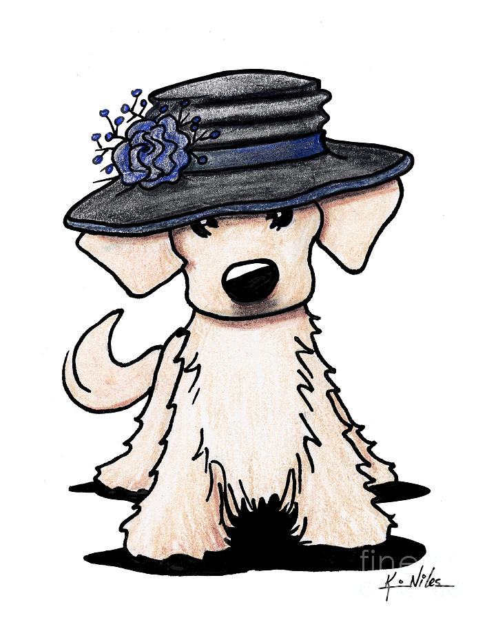 Hats Off Drawing - Retriever Puppy by Kim Niles