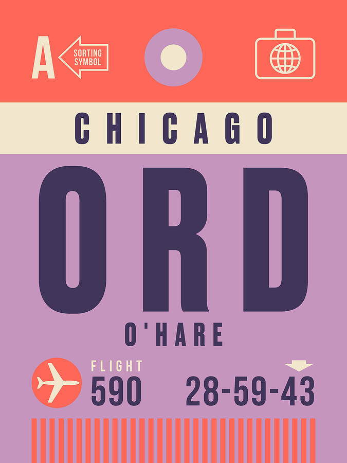 Retro Airline Luggage Tag - Ord Chicago Ohare Digital Art by Organic Synthesis