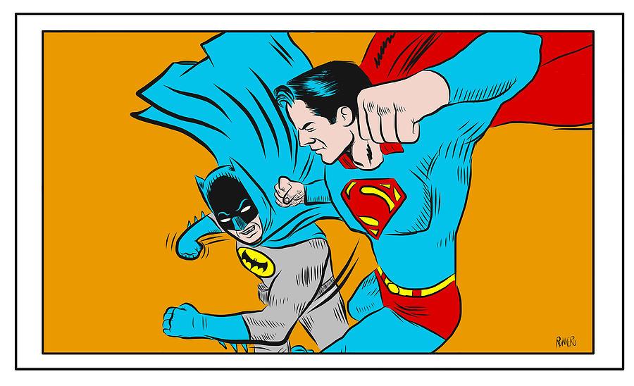 Batman V Superman Digital Art - Retro Batman V Superman by Antonio Romero