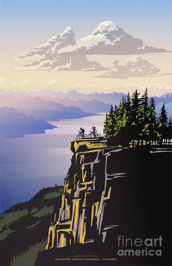 Cycling Digital Art - Retro Beautiful BC Travel poster by Sassan Filsoof