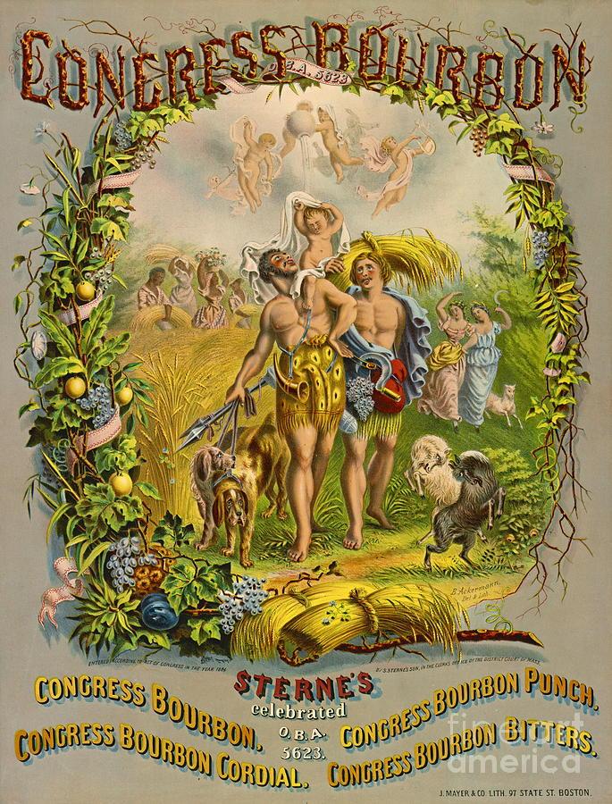 Green Photograph - Retro Bourbon Label 1864 by Padre Art