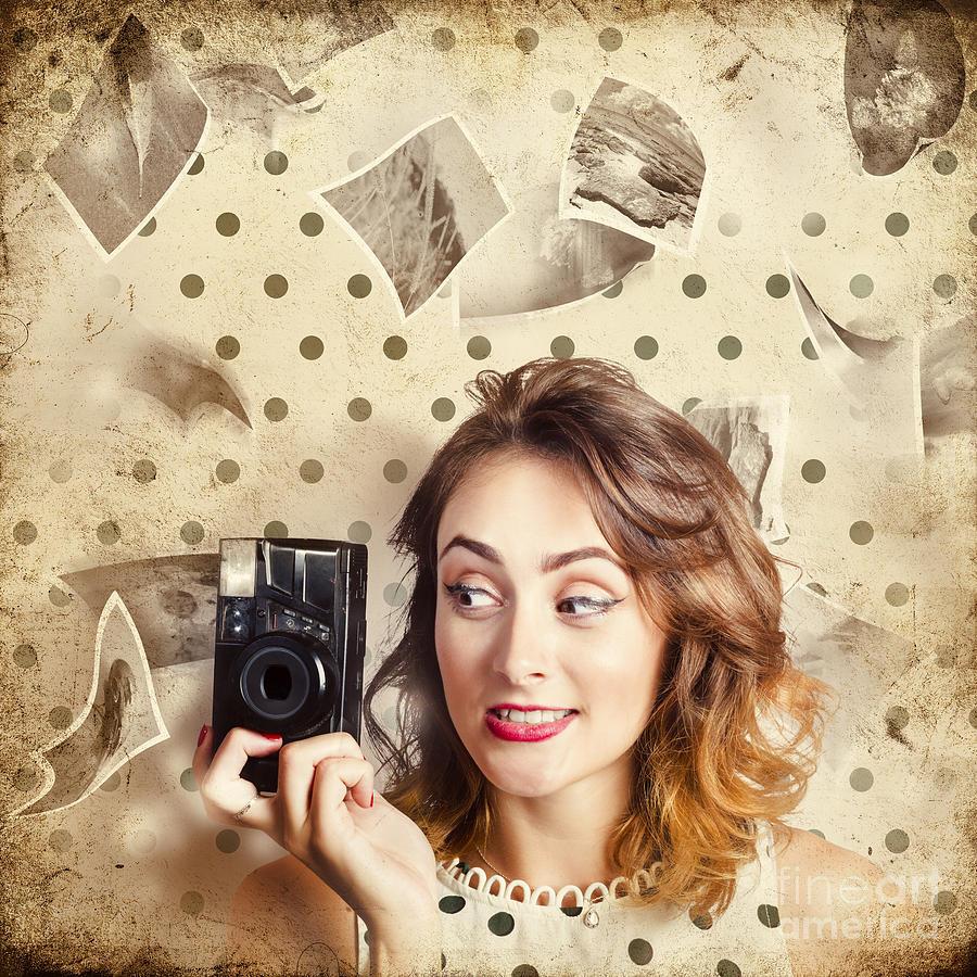 Model Photograph - Retro Camera Girl With Instant Idea by Jorgo Photography - Wall Art Gallery