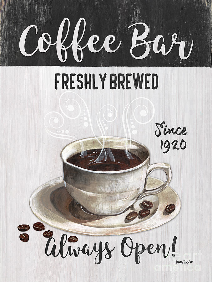 Coffee Painting - Retro Coffee Shop 2 by Debbie DeWitt